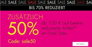 50% Extra-Rabatt Rabatt auf reduzierte Fashion und mehr im Galeria Onlineshop!