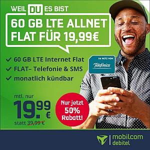 Nur noch heute bis 18 Uhr: 60 GB LTE Allnet Flat für nur 19,99€ mtl.