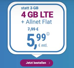 Top! Simply LTE Allnet-Flat, SMS-Flat und 4 GB LTE-Flat mit 3 Monaten Laufzeit für 5,99€ mtl. – 12 GB für 11,99€