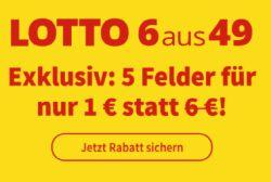2 Mio. Jackpot beim Mittwochslotto – jetzt als Lottohelden Neukunde 5 Felder 6aus49 für 1€ statt 6€ spielen