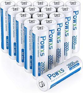 16er Pack POWXS AA Akkus mit 2800mAh 1.2V NiMH für 12,99€