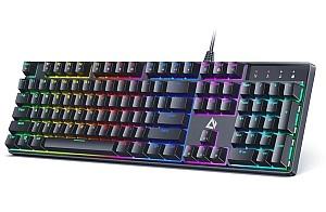 AUKEY KMG16 Mechanische Tastatur (LED-Hintergrundbeleuchtung, Blaue Schalter, 105 Tasten) für 21,20€ (statt 52,99€)