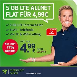 Hot! MD Vodafone Green LTE 5 GB Tarif für nur 4,99 Euro mtl.