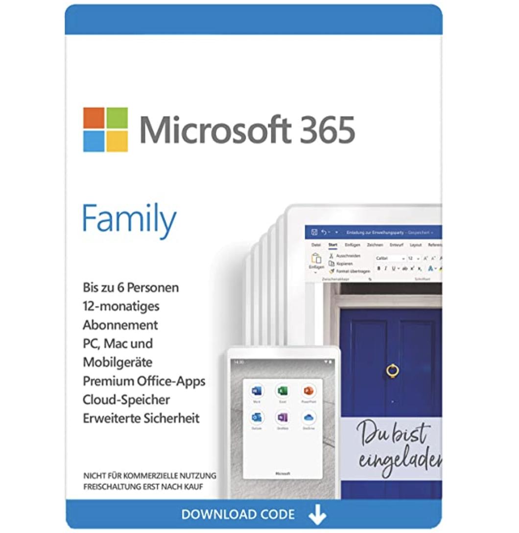 Microsoft 365 Office Family für 6 Nutzer für nur 51,99€ als Aktivierungscode