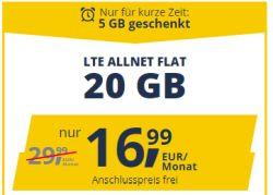 Nur noch heute! Anschlussgebührenbefreiung bei freenetmobile – z.B. monatlich kündbare 20GB D-Netz Allnet Flat für 16,99€ mtl.