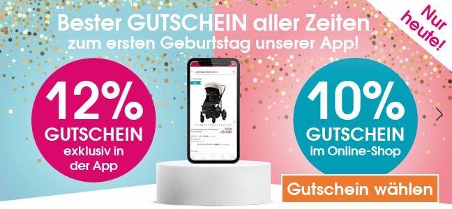 Nur heute: 10%/ 12% Rabatt auf fast alles im Babymarkt Online-Shop bzw. in der App