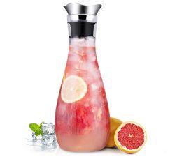 Tropffreie SUSTEAS 1,3 Liter Glas Karaffe mit Edelstahl Deckel für 15,49€