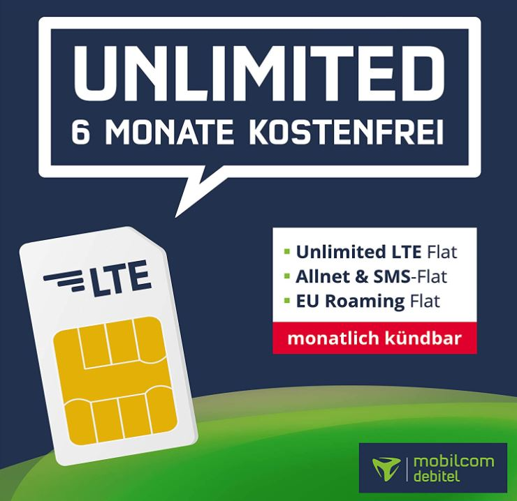 6 Monate Mobilcom Debitel o2 Free Unlimited Basic LTE Allnet Flat für nur einmalig 39,99€ (mtl. kündbar)