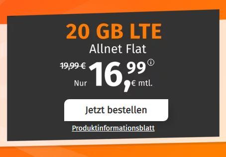 PremiumSIM LTE Allnet-Flat XL mit 20 GB Daten für 16,99€ pro Monat