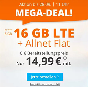 Sim.de Allnet LTE Flat mit 16 GB Datenvolumen für nur 14,99€ monatlich