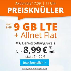 Sim.de Allnet LTE Flat mit 9 GB Datenvolumen für nur 8,99€ monatlich