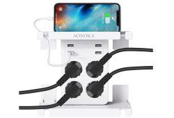 AONOKA 4-Fach Steckdosenadapter mit 4 USB Ports (2.4A) und Ablage für 15,59€