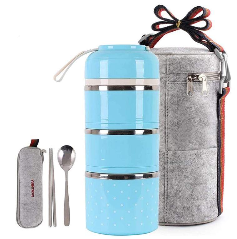 Buringer Lunchbox Set versch. Farben mit 6 Unterteilungen, Löffel, Essstäbchen und Lunchtasche für 11,69€