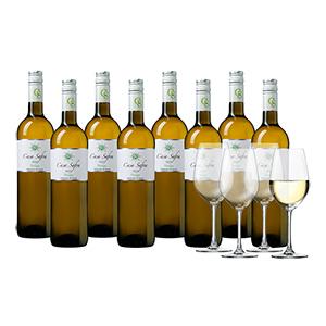 Weinpaket mit 8 Flaschen Casa Safra Verdejo + 4 Gläser für nur 44,99€