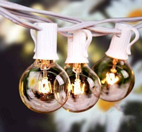 Lichterkette für Außen und Innen (G40 50FT 25 Glühbirnen + 2 Ersatzbirnen Warmweiß) für nur 19,99€