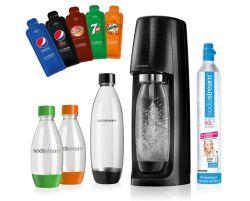SodaStream Easy Wassersprudler-Set mit CO2- Zylinder, 2x 1 L PET-Flasche, 2x 0.5 L PET-Flasche und 5x Pepsi Sirupproben für 52,99€