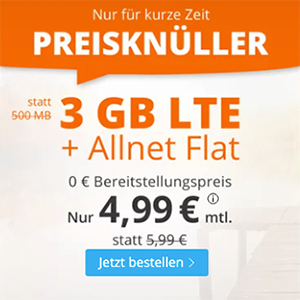 Sim.de Allnet LTE Flat mit 3 GB Datenvolumen für nur 4,99€ monatlich