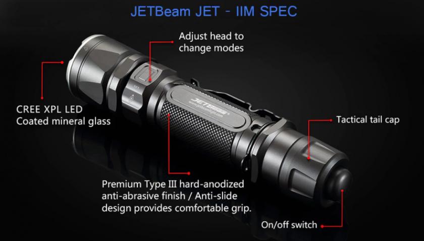 JetBeam LED Taschenlampe mit 1100 Lumen
